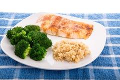 Salmon Broccoli and Brown Rice Stock Photography