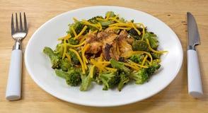 Salmon Broccoli Cheese Silverware Wood Table Top Stock Photo