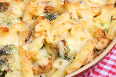 Salmon & Broccoli Pasta Bake. Rigatoni pasta bake with salmon and broccoli in a cheese sauce Royalty Free Stock Photo