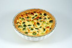 Salmon and broccoli quiche. Stock Photography