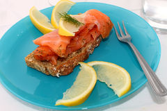 Salmon On Brown Bread Royalty Free Stock Image