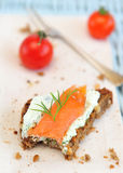 Salmon bruschetta Stock Photography
