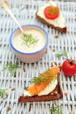 Salmon bruschetta Royalty Free Stock Photo