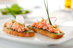 Salmon Bruschetta Royalty Free Stock Photography