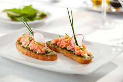 Salmon Bruschetta Royalty Free Stock Photos