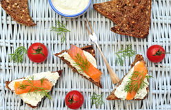 Salmon bruschetta on a picnic Royalty Free Stock Photo