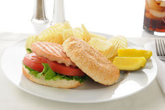 Salmon burger with chips Royalty Free Stock Photography