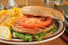 Salmon burger closeup Stock Photo
