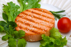 Salmon burger cutlet Stock Photos