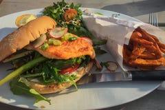 Salmon Burger delicioso Imágenes de archivo libres de regalías