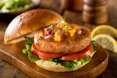 Salmon Burger. A delicious salmon burger with lettuce, tomato and pepper salsa with onion Stock Images