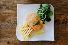 Salmon Burger Royalty Free Stock Image