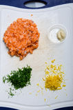 Salmon burger ingredients Royalty Free Stock Images