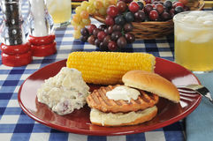 Salmon burger with potato salad Stock Images