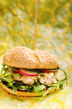 Salmon burger Stock Photo