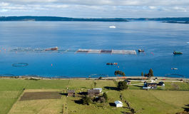 Salmon cages on islands in southern Chile Stock Images