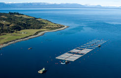 Salmon cages on islands in southern Chile Stock Photo
