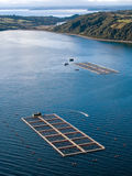 Salmon cages on islands in southern Chile Stock Image