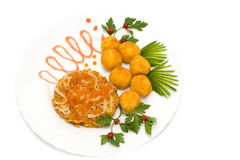 Salmon cake with red caviar Stock Images