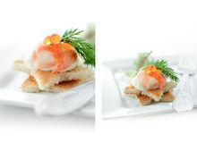 Salmon Canape Montage Stock Photography