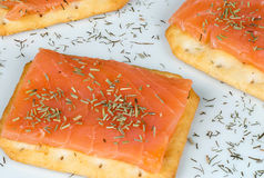 Salmon canapes Royalty Free Stock Images
