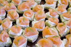 Salmon Canapes. Smoked Salmon with cream cheese and dill on mini rolls Stock Images