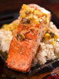 Salmon with capers sauce Royalty Free Stock Photography