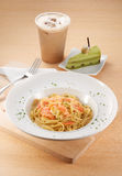 Salmon Carbonara Spaghetti with Cake Stock Images