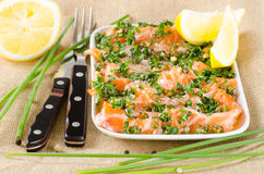 Salmon carpaccio - fresh salmon slices in marinade on burlapsack Stock Images