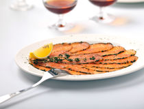Salmon Carpaccio with  Lemon Royalty Free Stock Images