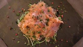 Salmon carpaccio Napolitan style stock images