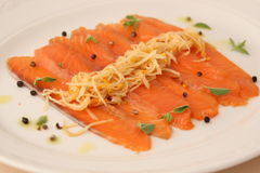 Salmon carpaccio Stock Photo