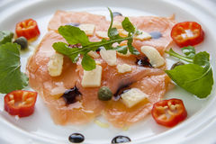 Salmon carpaccio on plate Stock Images