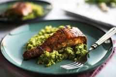 Salmon with Cauliflower Rice Stock Photos