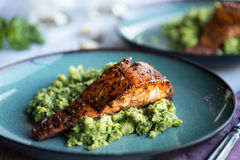 Salmon with Cauliflower Rice Stock Images