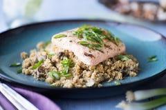 Salmon with Cauliflower Rice Stock Image