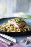 Salmon with Cauliflower Rice Royalty Free Stock Image