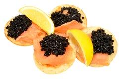 Salmon And Caviar Blini Pancakes Stockfotos