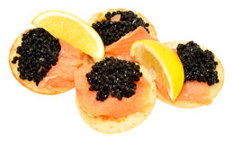 Salmon And Caviar Blini Pancakes Stock Photo