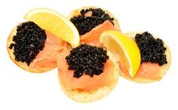 Salmon And Caviar Blini Pancakes Stock Photo