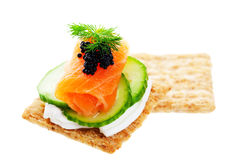Salmon Caviar Canape Stock Photography