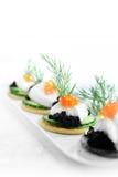 Salmon Caviar Canapes Stock Foto's