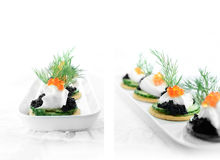 Salmon Caviar Canapes. Delicious salmon caviar and cream cheese canapes against white. Two different views. Copy space Stock Image