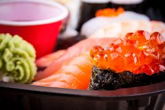 Salmon caviar ikura sushi with selective focus Royalty Free Stock Image