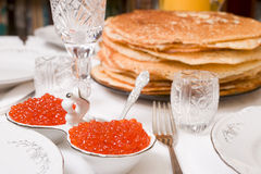 Salmon caviar on restaurant table Royalty Free Stock Image