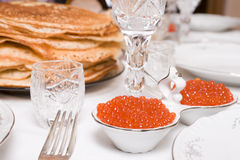 Salmon caviar on restaurant table Royalty Free Stock Photography