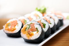 Salmon and caviar rolls Stock Photography