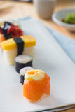 Salmon and caviar rolls served on a plate Stock Photography