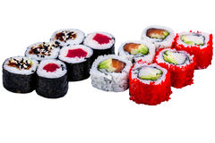 Salmon and caviar rolls set isolated on white Royalty Free Stock Photo