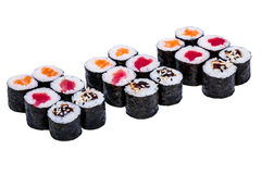 Salmon and caviar rolls set isolated on white Royalty Free Stock Images